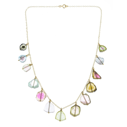 39 - A watermelon tourmaline fringe necklace.Stamped 750. Length 40cms. 12.2gms....
