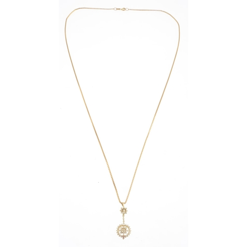 40 - A diamond pendant, suspended from a 9ct gold box-link chain.Estimated total diamond weight 0.50ct. C...