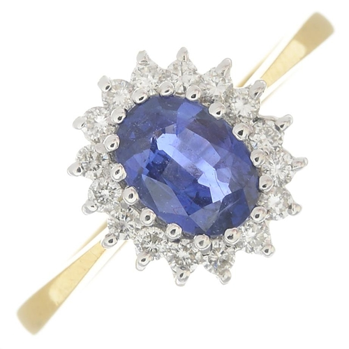 42 - An 18ct gold sapphire and diamond cluster ring.Calculated sapphire weight 0.80ct, based on estimated...
