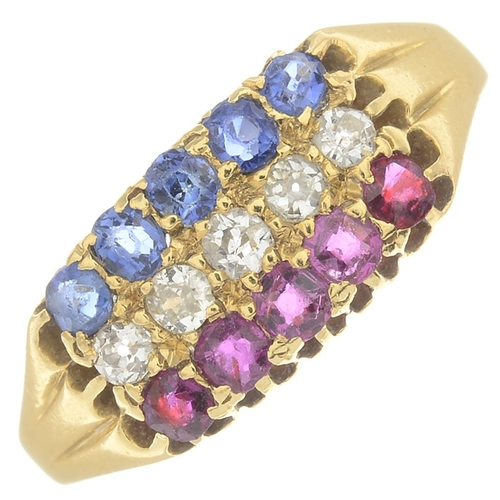 46 - An Edwardian 18ct gold ruby, sapphire and diamond dress ring.Maker's mark for Cornelius Desormeaux S...