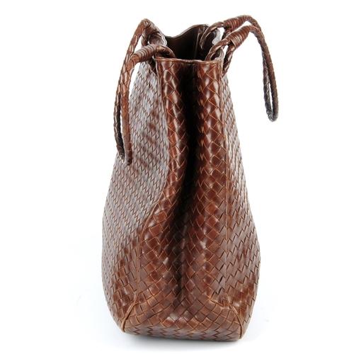 14 - BOTTEGA VENETA - a Nappa Intrecciato handbag. Designed in dark brown calfskin leather, with maker's ...