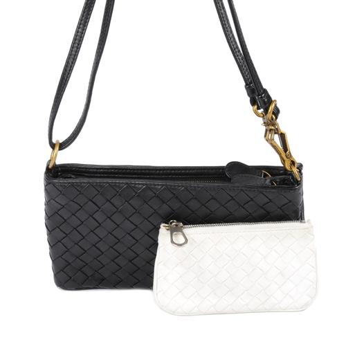 17 - BOTTEGA VENETA - a black Intrecciato fold-out handbag and key pouch. To include a woven black leathe...