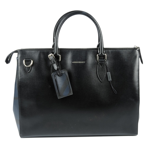 22 - BURBERRY - a black leather London briefcase. Featuring a black cross-grain leather exterior with sub...