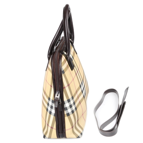 24 - BURBERRY - a Haymarket Check Bowling handbag. Designed with maker's Haymarket check coated canvas ex...