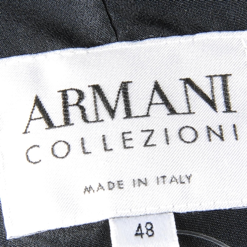 8 - ARMANI COLLEZIONI - a jacket and pencil skirt. The black silk jacket, with ruffled lapel collar and ...