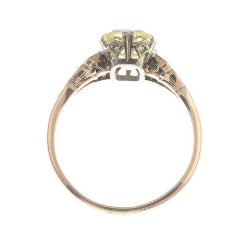 2 - An early 20th century gold yellow sapphire and diamond ring.Sapphire calculated weight 2.78cts, base...