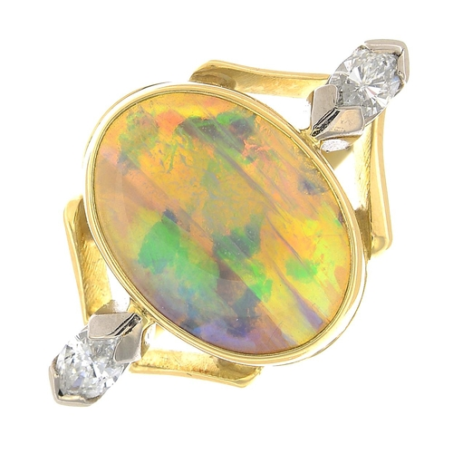5 - An 18ct gold opal and diamond dress ring.Estimated total diamond weight 0.35ct, G-H colour, SI2-P1 c...