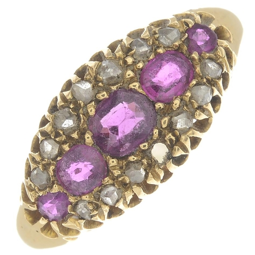 51 - An early 20th century 18ct gold ruby and diamond ring.One diamond point deficient.Hallmarks for Birm...