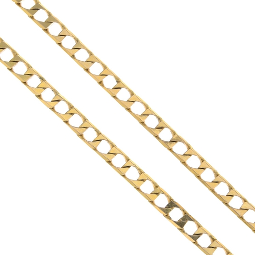 56 - A 9ct gold curb-link chain.Import marks for Birmingham, 1992.Length 44cms. 10.5gms....