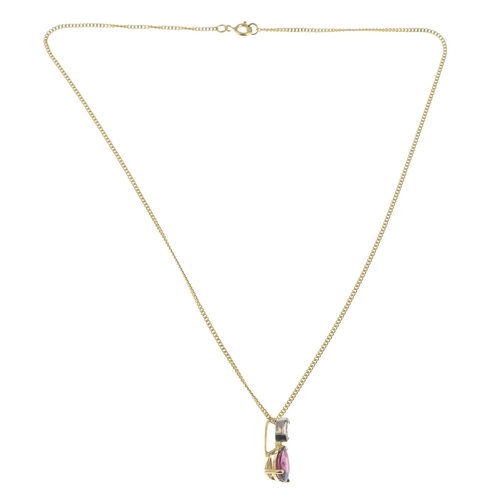 7 - An 18ct gold pink tourmaline and diamond pendant, suspended from a curb-link chain.Tourmaline calcul...