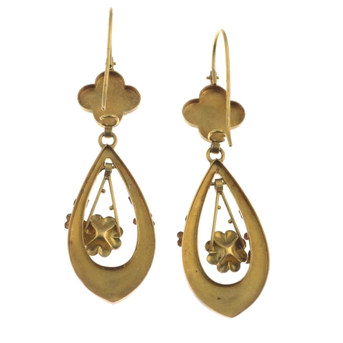9 - A pair of early 20th century 15ct gold turquoise floral earrings.Stamped 15ct, with later 14ct gold ...