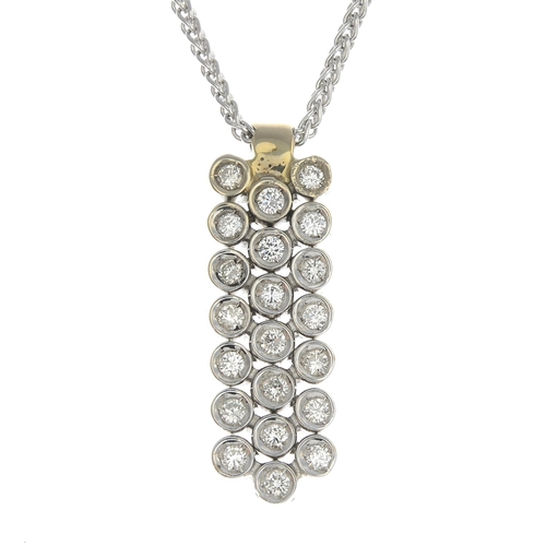 40 - A diamond pendant, suspended from a platinum spiga-link chain.Estimated total diamond weight 0.45ct....