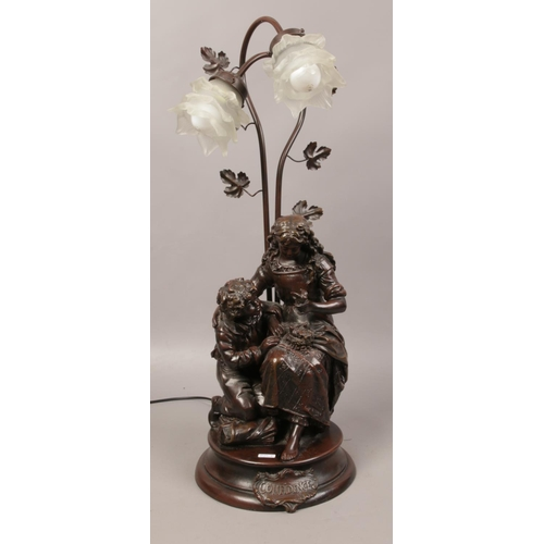 23 - A bronzed composite twin branch figural table lamp formed as mother and child, marked Confidence....