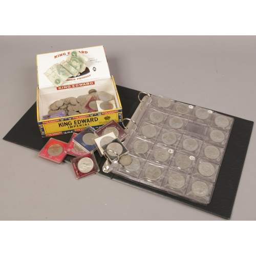 39 - A box and album of British pre-decimal coins to include commemorative crowns, one pound note etc....