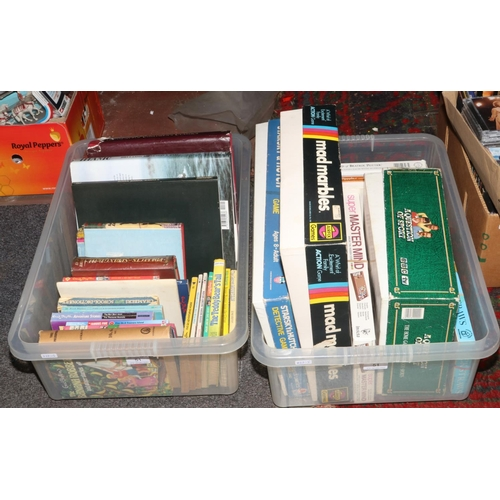 51 - Two boxes of books, board games and puzzles to include Enid Blyton, Starsky and Hutch detective game...