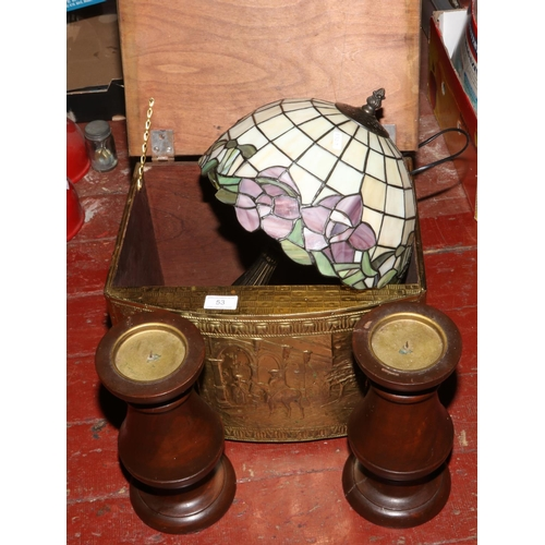 53 - A brass log box, two turned mahogany candle stands and a Tiffany style table lamp....
