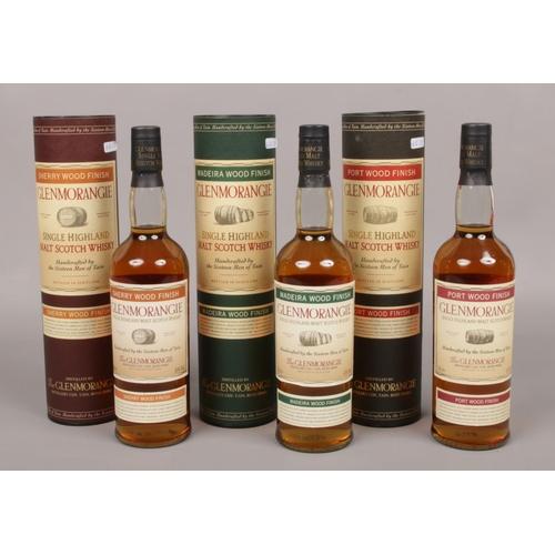 Three full and sealed 70cl bottles of Glenmorangie single Highland malt Scotch Whisky; Madeira, Port and Sherry Wood finishes.