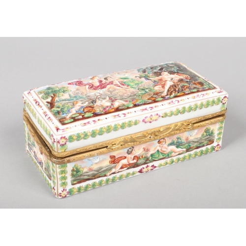 47 - A Capodimonte casket with gilt metal mount, 21.5cm wide....