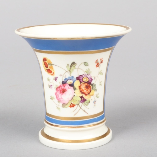 3 - A small Rockingham trumpet-shaped vase. Blue ground, with gilt bands and painted with a square panel...