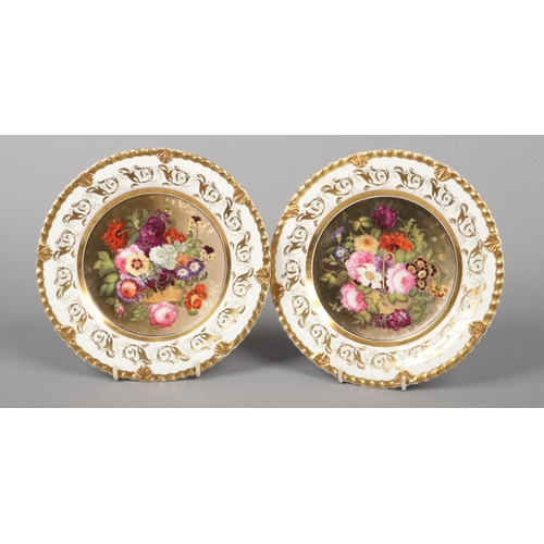 5 - A fine pair of Rockingham dessert plates with anthemion and gadroon moulding painted by John Creswel...