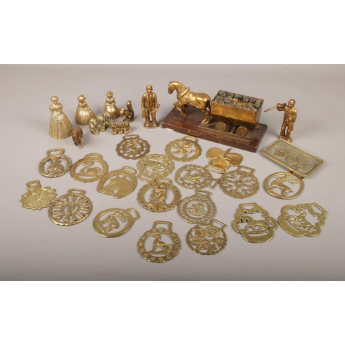 20 - A collection of brassware, to include mining examples, horse brasses etc....