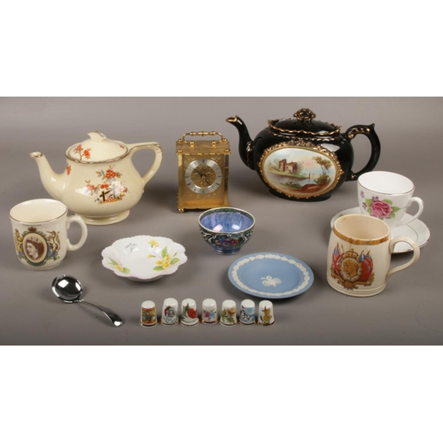 35 - A collection of mainly ceramic's, J & G Meakin 'Sunshine' Teapot, Shelley & Wedgwood pin dish etc to...