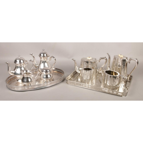 46 - A J.H.Potter silverplate and ivory teaset on tray, along with another silver plate teaset on present...