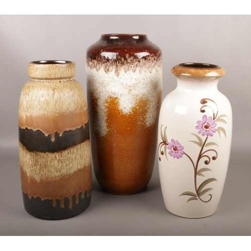 48 - Three large West German pottery vases....