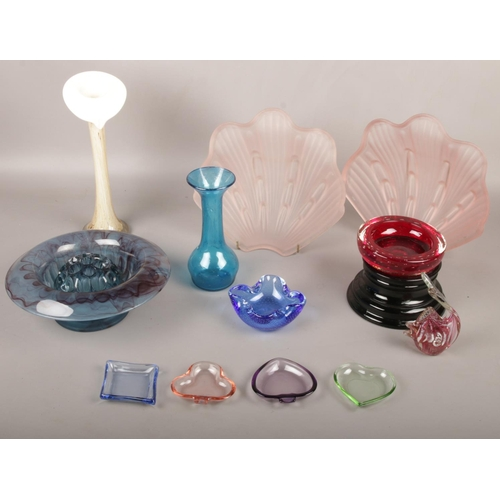 51 - A collection of coloured glasswares, vases, shell shades, dishes etc...