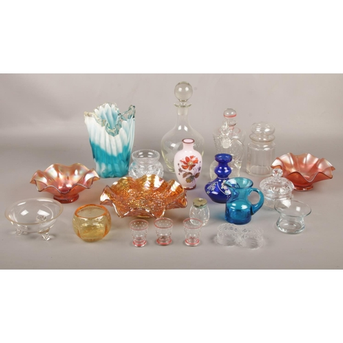 56 - A collection of glassware's, carnival & coloured examples vases, bowls, jugs etc...