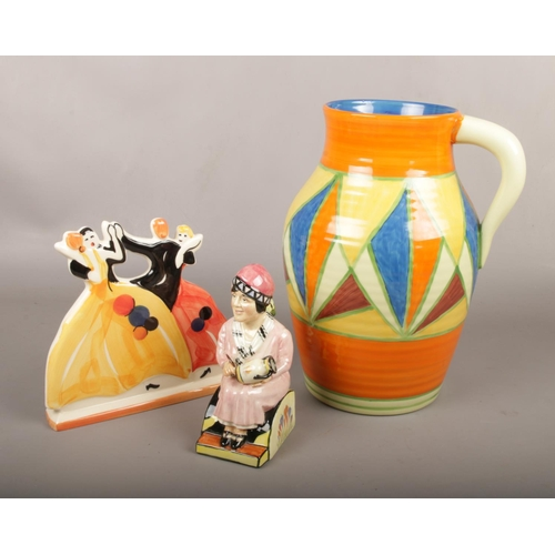 57 - A Kevin Francis porcelain model Little Clarice, along with a large copy of a lotus jug and a figure ...