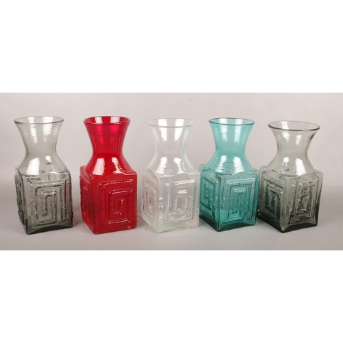 Five large Dartington glass vases by Frank Thrower. FT58 with moulded Greek key design in flame, kingfisher, two midnight and clear, 24cm.