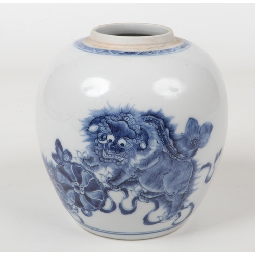 An 18th century Chinese blue and white ginger jar. Painted in underglaze blue with a pair of lion dogs and a brocade ball. Unmarked, 18.5cm high.
