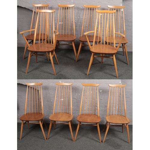 A set of ten Ercol Golden Dawn dining chairs including a pair of carver armchairs.