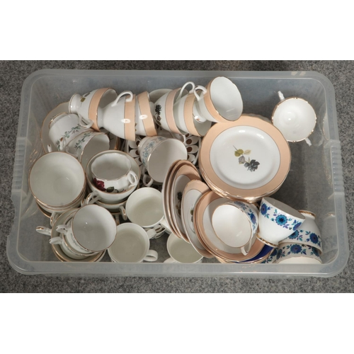 188 - A box of miscellaneous ceramic tea sets, Sutherland, Salisbury, Royal Stuart examples...