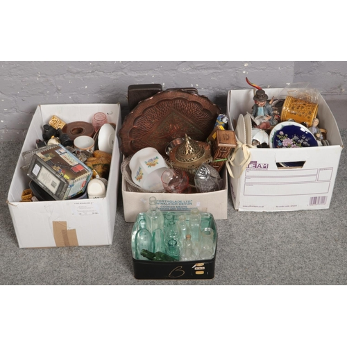 208 - Three boxes of miscellaneous to include capadimonte figures, glass bottles, copper tray, etc....