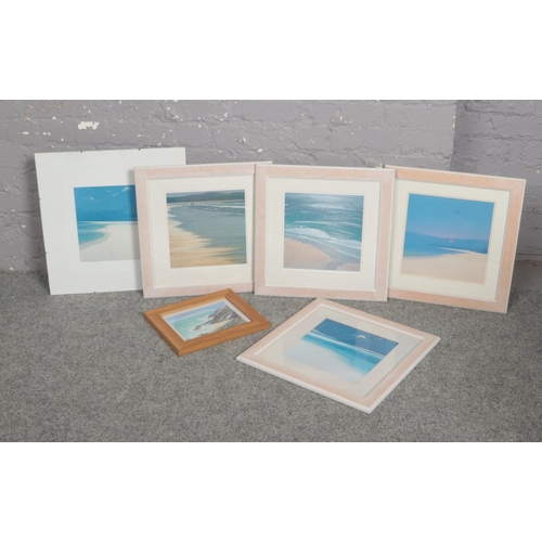 286 - A collection of framed prints, Peter Lellows ' Walk on the Beach', Dot Johnson ' Early Morning Walk'...