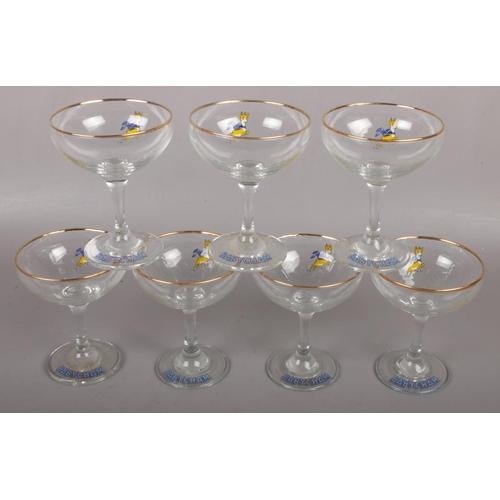 4 - Seven Babycham glasses....