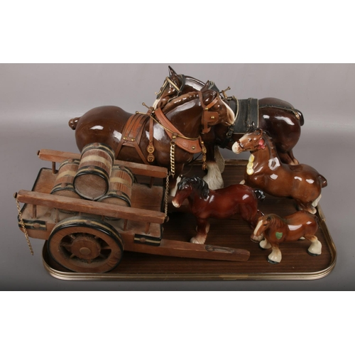 5 - A tray of ceramic horses to include shire horse and cart example etc....