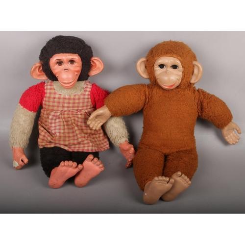 9 - Two vintage monkey teddies....