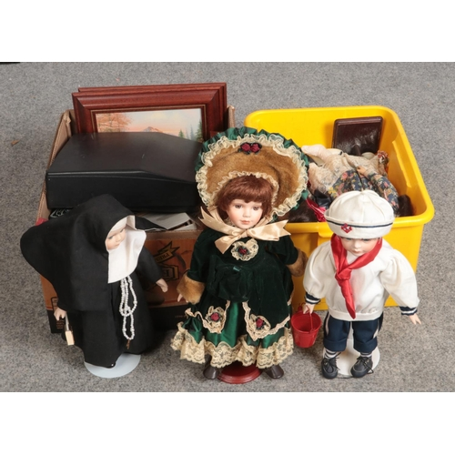 214 - Two boxes of miscellaneous, porcelain dolls, Silver-reed typewriter, cased Butler Cutlery Sheffield ...