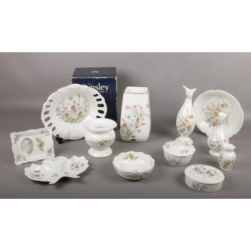 35 - A collection of Aynsley Bone China, 'Wild Tudor'  ' Just Orchid', Large vase (with box), bud vases, ...