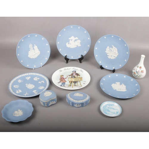 38 - A collection of Wedgwood, American Independence Boston Tea Party plate, The Baked Potato man plate, ...