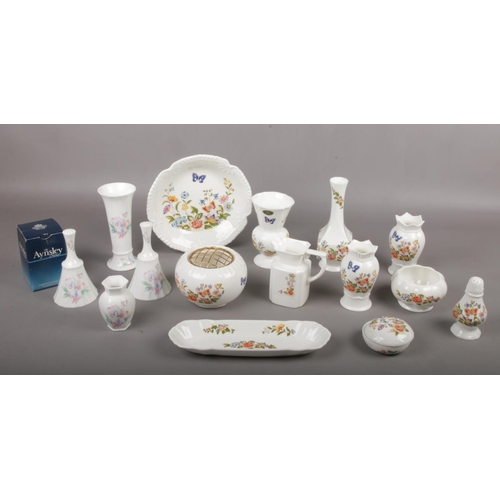 40 - A collection of Aynsley Bone China, 'Cottage Garden' ' Little Sweetheart' bud vases, pin dishes, tri...