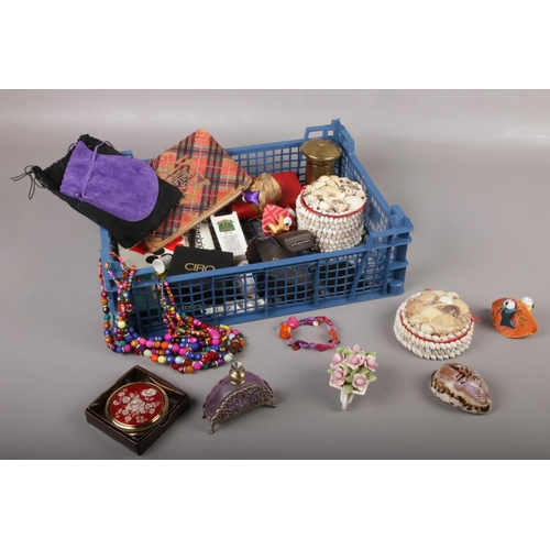 45 - A collection of collectables, seashell tricket boxes, beads, Royal Albert 'Lavender Rose' examples...