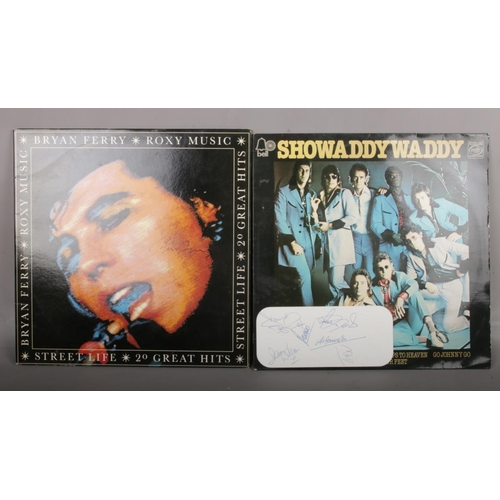465 - A Bryan Ferry Roxy Music autographed LP record, along with a Showaddywaddy LP record with six autogr...