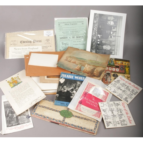504 - A quantity of ephemera including old folios, blotter, theatre and sporting programmes and newspaper ...