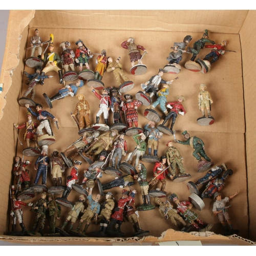 108 - A box of approximately 50 Franklin Mint diecast metal soldiers....