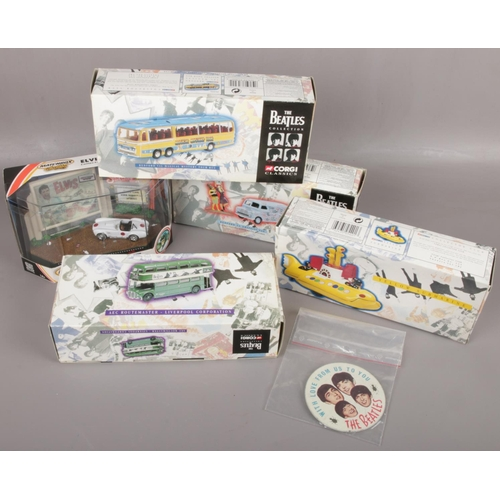 170 - A box of Beatles collectables to include With Love from Us to You pin badge, Boxed Corgi yellow subm...