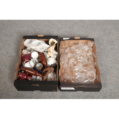223 - Two boxes of miscellaneous, Sylvac, Royal Doulton, Royal Albert examples to include cut crystal glas...